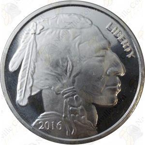 2016-dated 1 oz .999 fine silver round -- Buffalo & Indian design