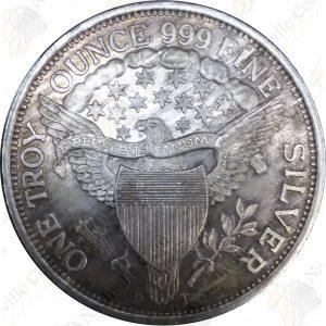 1 oz .999 fine silver round - Draped Bust Dollar design