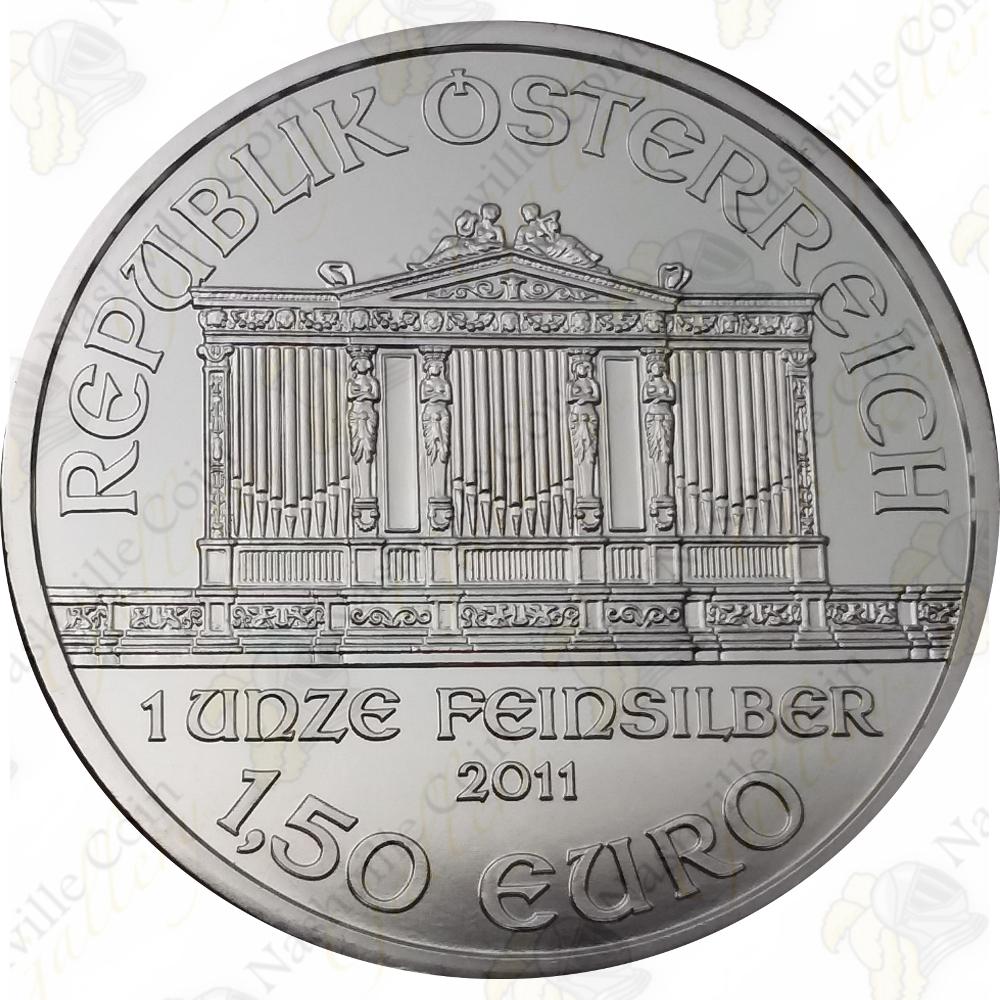 in Capsule 1oz 2011 Austrian Philharmonic Silver Bullion Coin Mint Condition