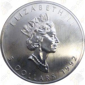 1992 Canada 1 oz .9999 Fine Silver Maple Leaf