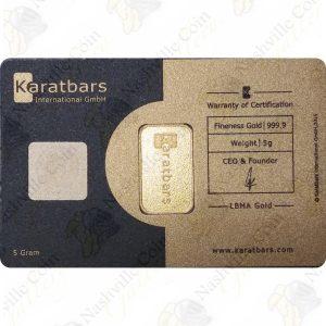 Nadir 5 gram .9999 fine gold karatbar in assay card