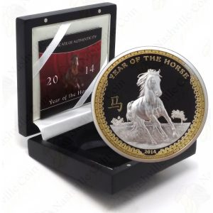 2014 Palau $5 High Relief 1 oz .999 fine silver Year of the Horse