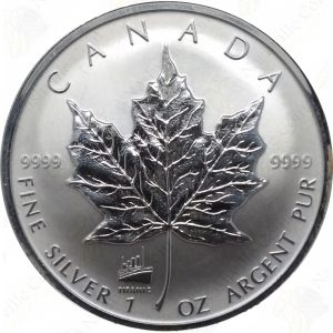 1998 Canada $5 Reverse Proof 1 oz .9999 fine silver Maple Leaf (Titanic Privy)