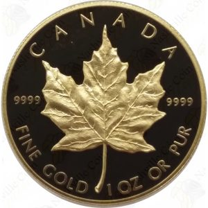1989 Canada 1 oz .9999 fine gold Maple Leaf (Proof) with box and COA