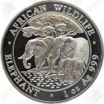 2013 1 oz Somalia Elephant -- 1 oz .999 Fine Silver