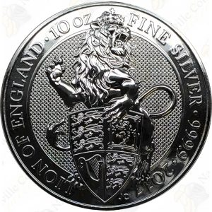 2017 Great Britain Queen's Beasts Lion of England -- 10 oz .9999 fine silver