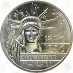 1986 France Silver 100 Francs (Piedfort) Statue of Liberty -- BU