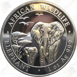 2015 1 oz Somalia Elephant -- 1 oz .999 Fine Silver