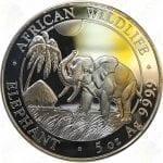 2017 5 oz Somalia Elephant -- 5 oz .9999 Fine Silver