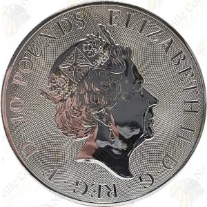 2018 Great Britain Queen's Beasts Red Dragon of Wales -- 10 oz .9999 fine silver