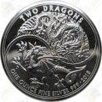 2018 Great Britain 1 oz .999 fine silver Two Dragons