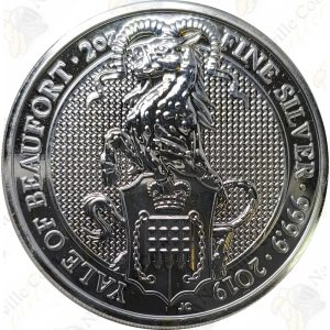 2019 Great Britain Queen's Beasts Yale of Beaufort -- 2 oz .9999 fine silver