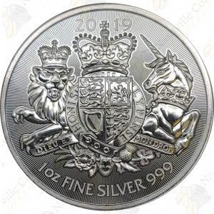 """2019 Great Britain """"The Royal Arms"""" 1 oz .999 fine silver"""