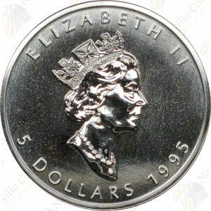 1995 Canada $5 1 oz silver Maple Leaf -- Uncirculated