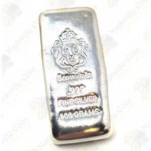 "Scottsdale Mint 100 gram .999 fine ""cast"" silver bar"