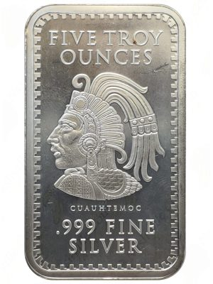 Cuauhtemoc 5 oz .999 fine silver bar (Golden State Mint)