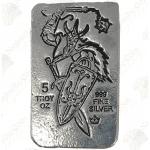 """Monarch """"Viking"""" 5 oz Silver Bar -- Flail & Shield"""